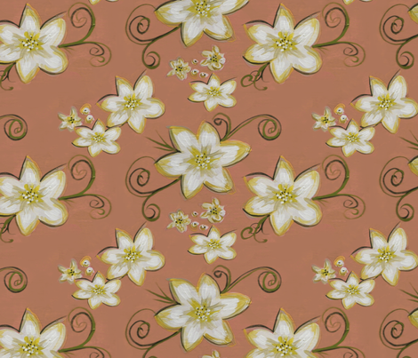 Flowerly - old pink fabric by catru on Spoonflower - custom fabric