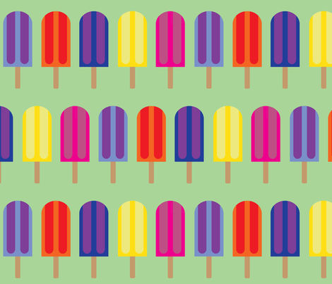 Popsicles - Green  fabric by owlandchickadee on Spoonflower - custom fabric