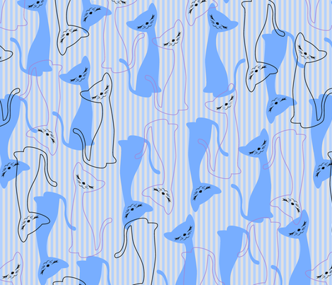 Nifty Kitty - Feeline Blue fabric by tuppencehapenny on Spoonflower - custom fabric