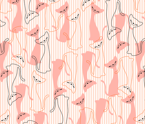 Nifty Kitty - Peachy Keen fabric by tuppencehapenny on Spoonflower - custom fabric