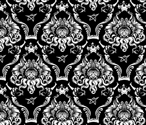 Cthulhu Damask fabric by jimiyo on Spoonflower - custom fabric
