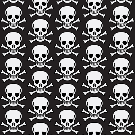 skulls on black fabric by fabricfaeries on Spoonflower - custom fabric