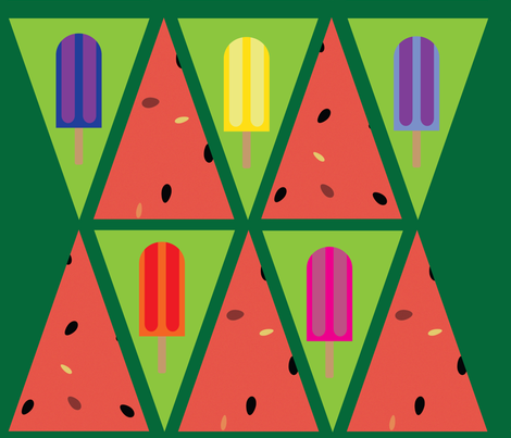 Popsicle and Watermelon Bunting fabric by owlandchickadee on Spoonflower - custom fabric