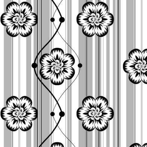 Monochrome floral fabric by bubblequartz on Spoonflower - custom fabric