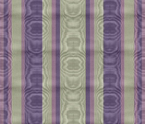 Holy Smoke Amethyst & Sage Striped Moire fabric by peacoquettedesigns on Spoonflower - custom fabric