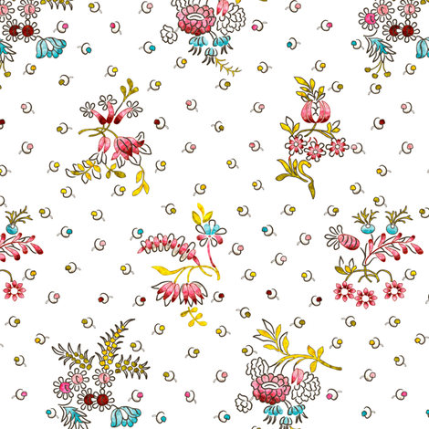 Rococo Floral with tiny dot-like flower pattern, c. 1752 fabric by bonnie_phantasm on Spoonflower - custom fabric