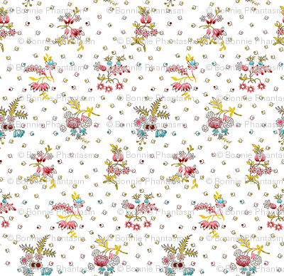 Rococo Floral with tiny dot-like flower pattern, c. 1752