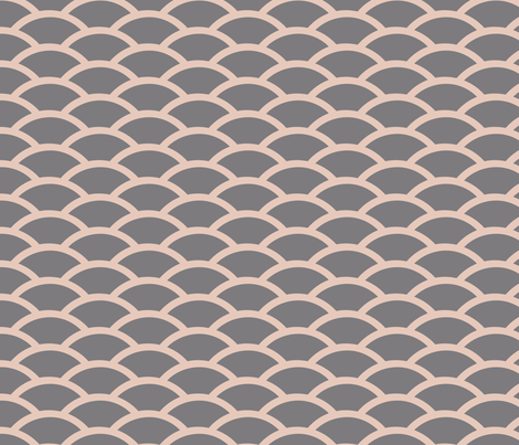 Straight Scallop in Pink and Gray fabric by fridabarlow on Spoonflower - custom fabric