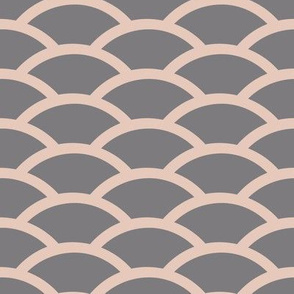 Straight Scallop in Pink and Gray