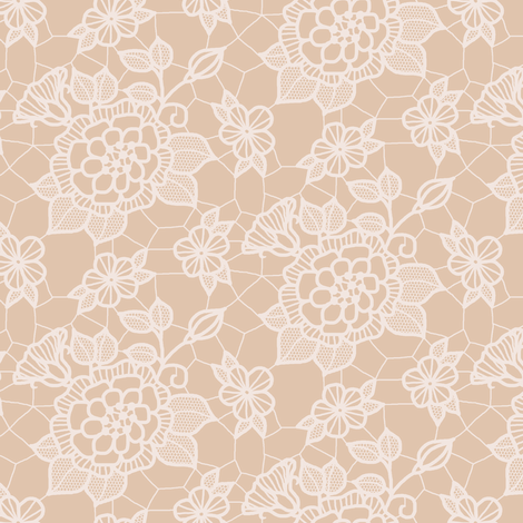Cream lace flower on mocha fabric by victorialasher on Spoonflower - custom fabric