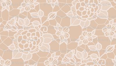 Cream lace flower on mocha