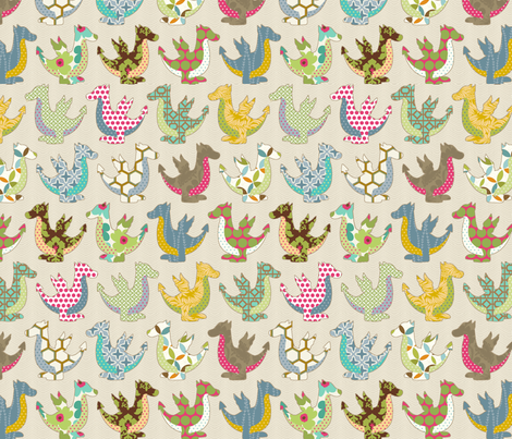 The colorful dragon fabric by littlerhodydesign on Spoonflower - custom fabric