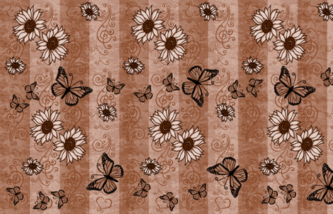 Sunflower Monarch Memories Sepia fabric by laurijon on Spoonflower - custom fabric