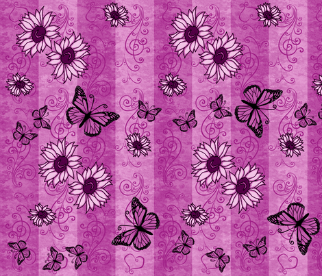 Sunflower Monarch Memories Pink fabric by laurijon on Spoonflower - custom fabric