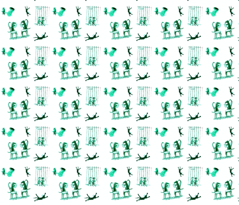 Busy Animals Green White fabric by margaretdaniero on Spoonflower - custom fabric