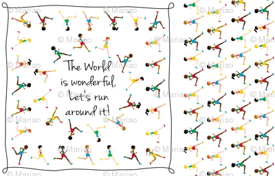 Let's run around the world (sqare scarf)