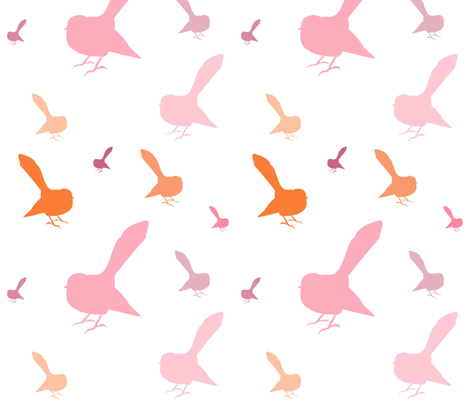 Kiwi Holiday Pretty Pink Fantails fabric by smuk on Spoonflower - custom fabric