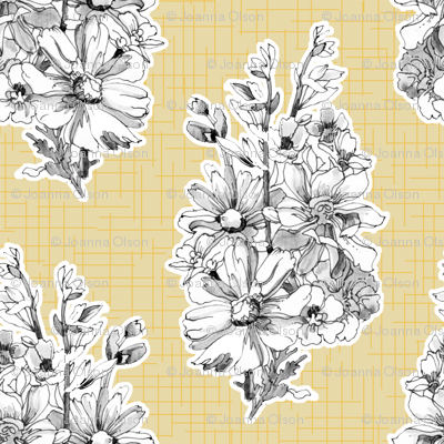 Sketchbook Bouquet on Yellow