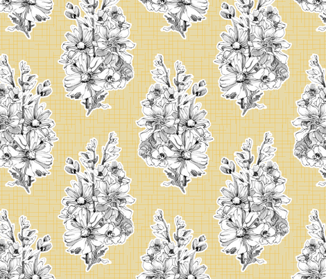 Sketchbook Bouquet on Yellow fabric by joanna_oh! on Spoonflower - custom fabric
