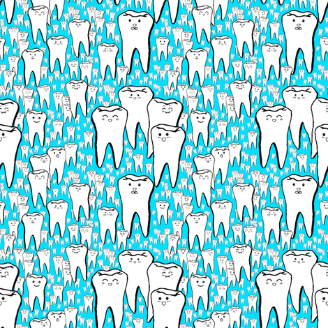 Milk Teeth - Blue fabric by beth_snow on Spoonflower - custom fabric