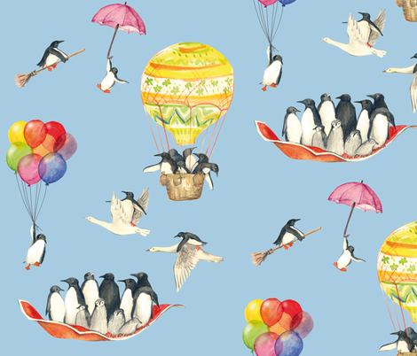 sure_penguins_can_fly fabric by johanna_design on Spoonflower - custom fabric