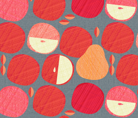 Red Apples & Golden Pears fabric by spellstone on Spoonflower - custom fabric