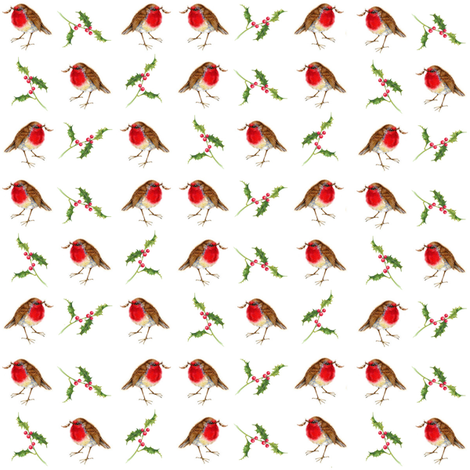 robins and holly fabric by jan_harbon on Spoonflower - custom fabric