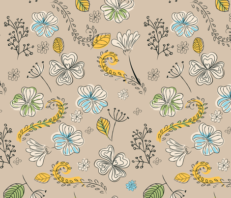hippie_floral_tan fabric by dillybean on Spoonflower - custom fabric