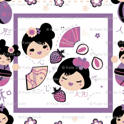 Kokeshi Girls Quilt (Pink & Purple)
