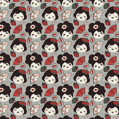 Japanese Fruit Babies fabric by eppiepeppercorn on Spoonflower - custom fabric