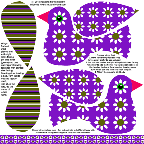 Hanging Flowerbird - Purple fabric by nezumiworld on Spoonflower - custom fabric