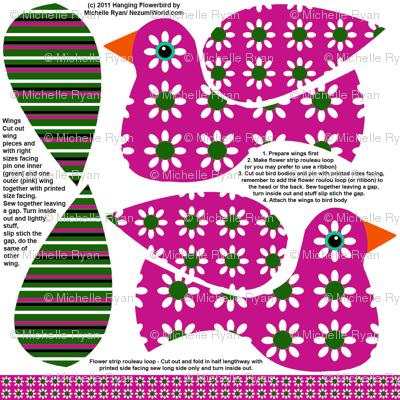 Hanging Flowerbird - Pink
