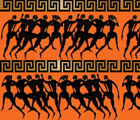 ancient Olympics orange fabric by kociara on Spoonflower - custom fabric