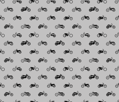 Classic Motorcross Bikes Grey fabric by smuk on Spoonflower - custom fabric