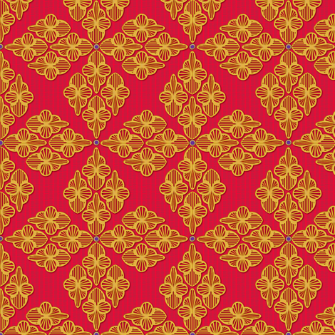 Embroidery gold and carmine fabric by glimmericks on Spoonflower - custom fabric