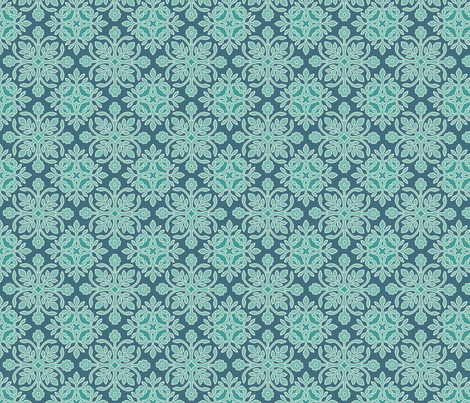 2Papercuts wavy diagonal minagreen-171 darkblue-195  sRGB fabric by mina on Spoonflower - custom fabric
