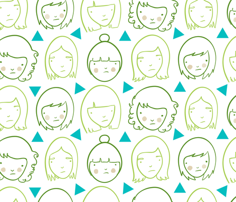 Sad girls and triangles fabric by youngcaptive on Spoonflower - custom fabric