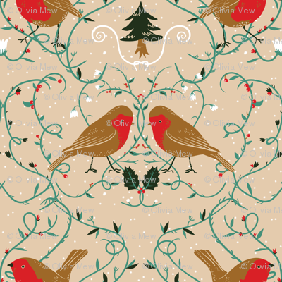 Holiday robins (pale)
