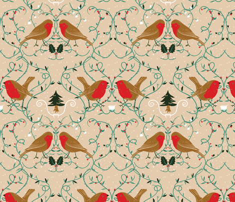 Holiday robins (pale) fabric by youngcaptive on Spoonflower - custom fabric