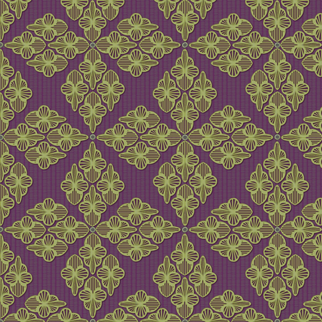 Embroidery sage and violet fabric by glimmericks on Spoonflower - custom fabric