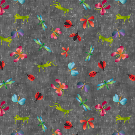 bugs_on_gray-01 fabric by vo_aka_virginiao on Spoonflower - custom fabric