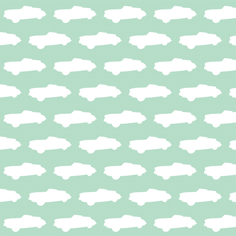 Cuckoo Blue Convertible Car fabric by smuk on Spoonflower - custom fabric