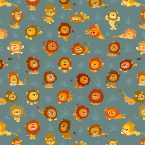 Kawaii Little Lions Grey by Cheerful Madness!!