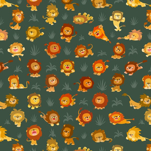 Kawaii Little Lions Dark Grey by Cheerful Madness!!