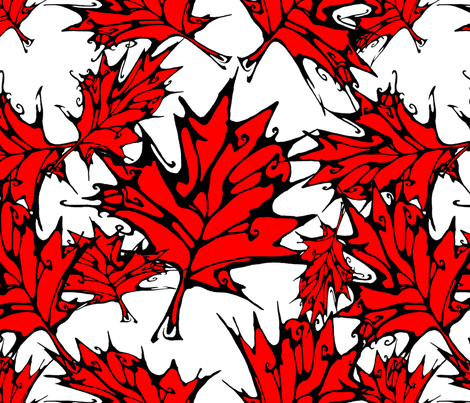 Inkblot Red Maple Leaves fabric by art_rat on Spoonflower - custom fabric
