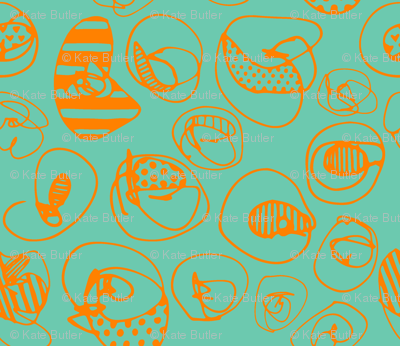 Orange Pattern Dots on Teal