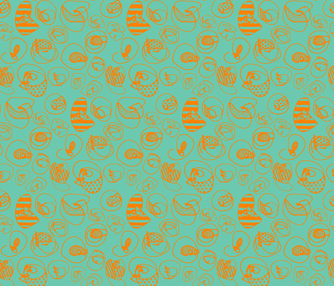 Orange Pattern Dots on Teal  fabric by katebutler on Spoonflower - custom fabric