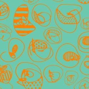 Orange Pattern Dots on Teal