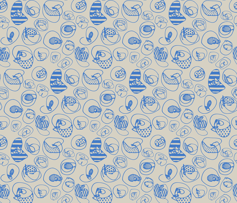Blue Pattern Dots on Neutral fabric by katebutler on Spoonflower - custom fabric