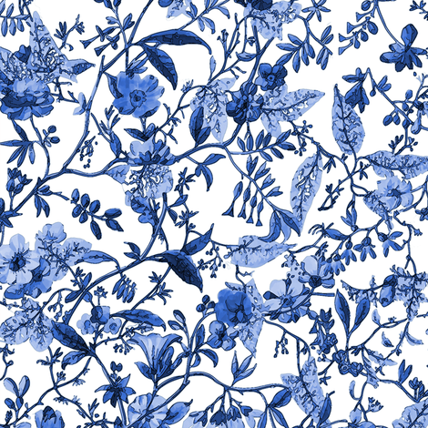Rococo Indigo floral, c. 1788-1792 fabric by bonnie_phantasm on Spoonflower - custom fabric